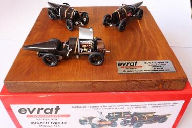 """EVR019 Coffet 3 Bugatti 5 Litres Type 18 """"Ventoux"""" sn 471 (EVR016+017+018) signé et authentifié à 30 ex."""
